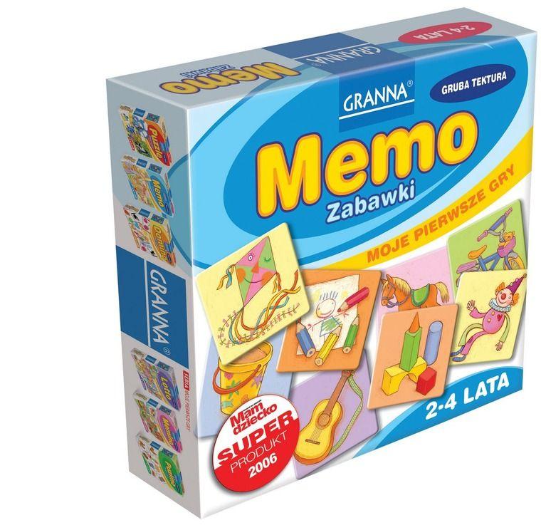 """Pudełko z pomocą """"Memo Zabawki""""."""